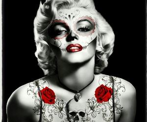 tattoo, skull, and Marilyn Monroe image