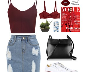 outfit, Polyvore, and red image