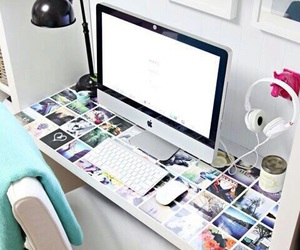 room, desk, and apple image