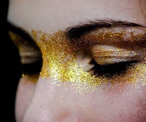 glitter, gold, and eyes image