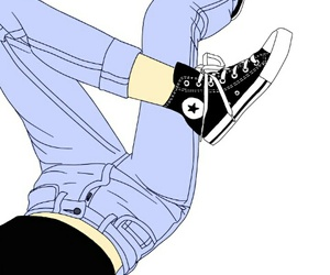 all stars, drawing, and jeans image