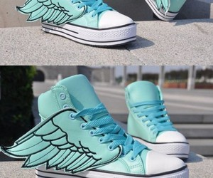 shoes, wings, and blue image