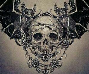 skull, bat, and bats image