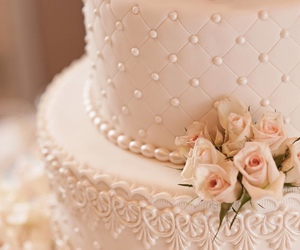 cake, wedding, and roses image