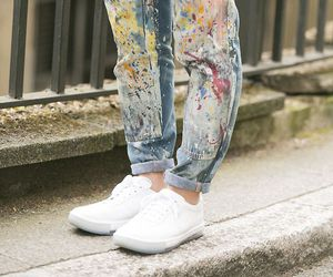 painting, white shoes, and hot mess jeans image