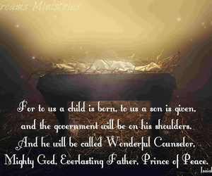 baby jesus, mighty god, and prince of peace image