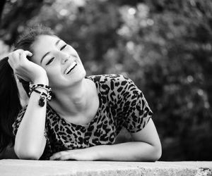 black and white, girl, and smile image