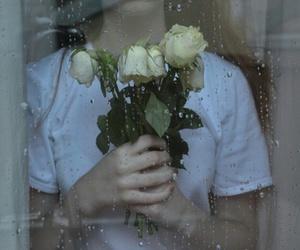 flowers, grunge, and rain image