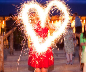 heart, firework, and light image