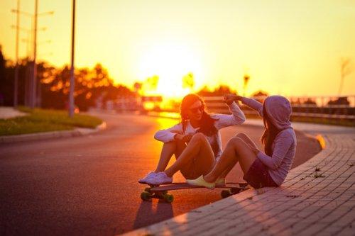 fun, sunset, and girls image