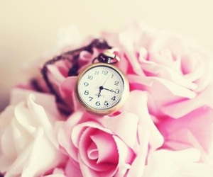 rose, pink, and clock image