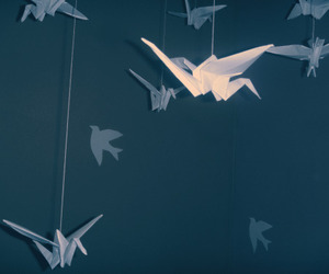 Flying, paper cranes, and hanging image