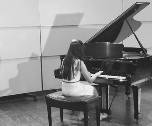 art, piano, and b&w image