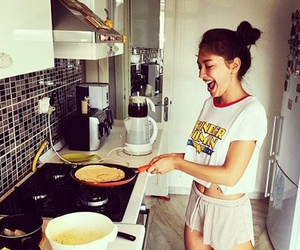 girl, breakfast, and cooking image