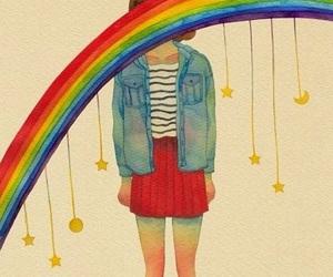 girl, rainbow, and nice image