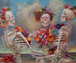 flowers, skull, and skeleton image