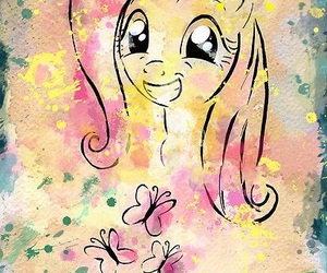 butterfly, my little pony, and rainbow dash image
