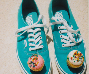 blue, cupcake, and shoes image