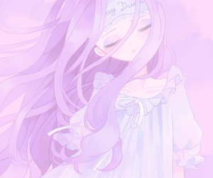 anime, pastel, and purple image