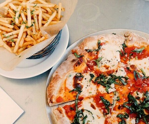 food, pizza, and fries image