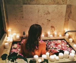 girl, bath, and candles image