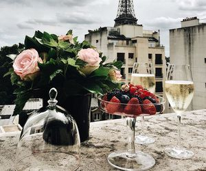 paris, flowers, and champagne image