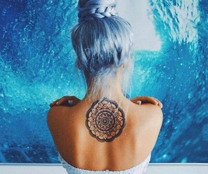blue, hair, and tattoo image