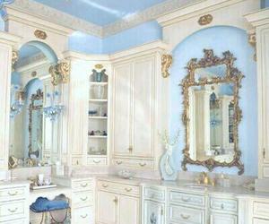 bathroom, blue, and decoration image