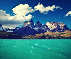landscape, sea, and mountains image