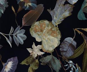black, flowers, and foliage image