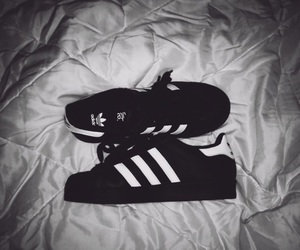 adidas, bed, and black image