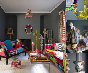 interiors design, chandelier, and colorful image