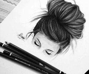 drawing, art, and hair image