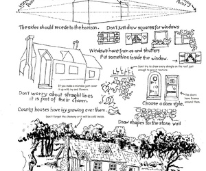 art, how to draw, and country cottage image