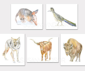 animals, Texas, and watercolor painting image