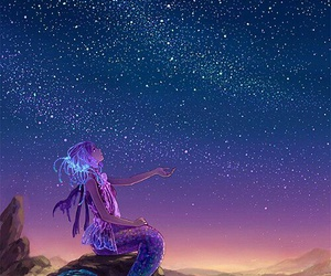 mermaid, stars, and anime image