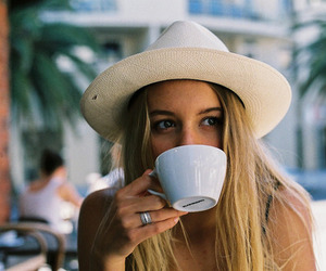 girl, summer, and coffee image