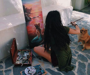 girl, dog, and paint image