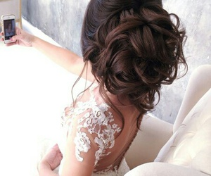 bride, hair style, and dress image