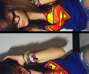 girl, superman, and glasses image