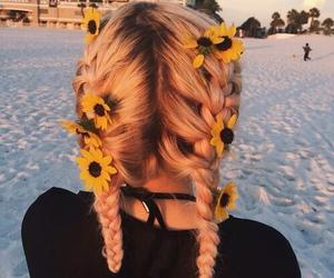 hair, flowers, and braid image