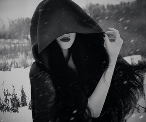 black and white, snow, and dark image