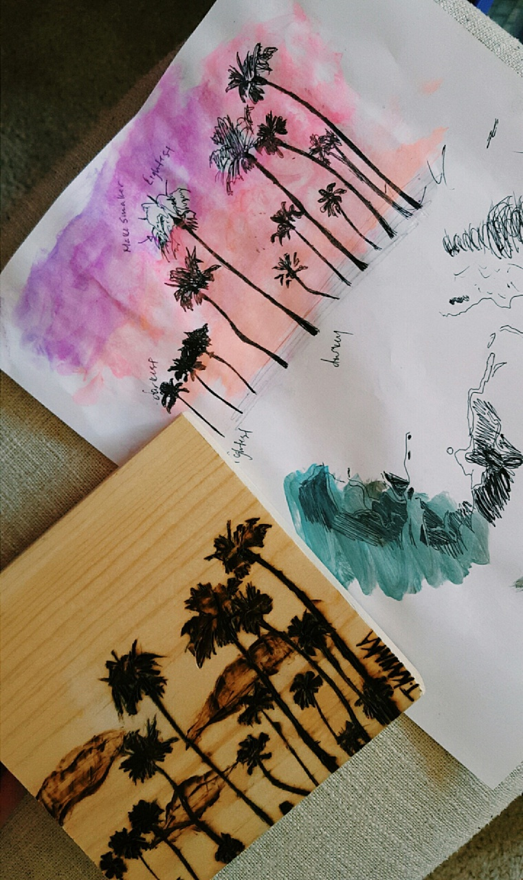 doodle, painting, and palm trees image