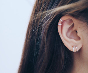 etsy, cartilage earrings, and silver hoop earrings image
