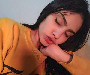 eyebrow, girl, and hair image