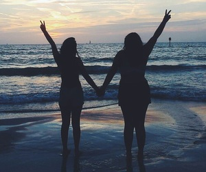 beach, best friends, and summer image
