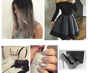 black, clutch, and dress image