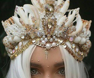crown, mermaid, and white image