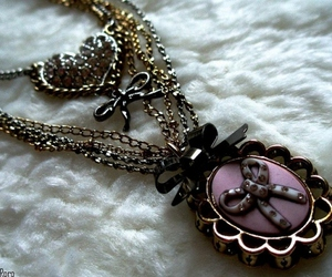 bow, necklace, and heart image