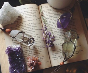 books, decor, and crystals image